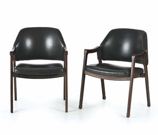 Two wooden armchairs