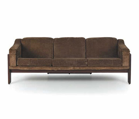 Upholstered sofa with wooden frame