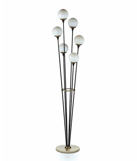 Italian metal and glass floor lamp