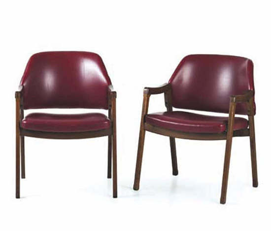 Pair of wooden armchairs