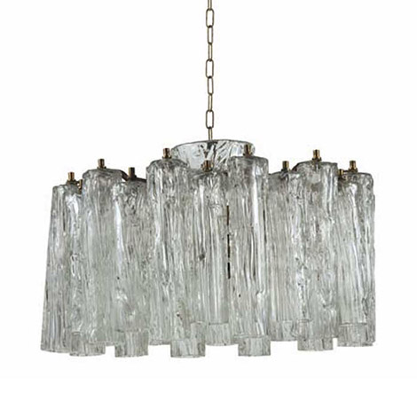 Brass and Murano glass chandelier