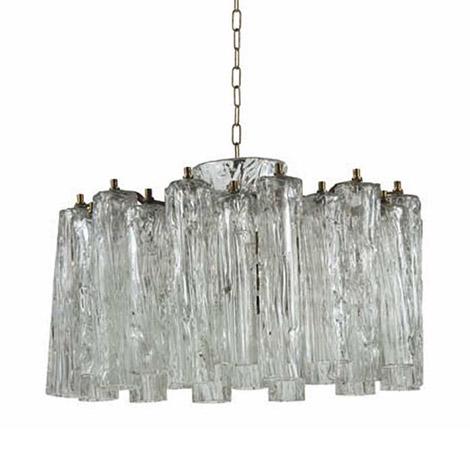 Brass and Murano glass chandelier
