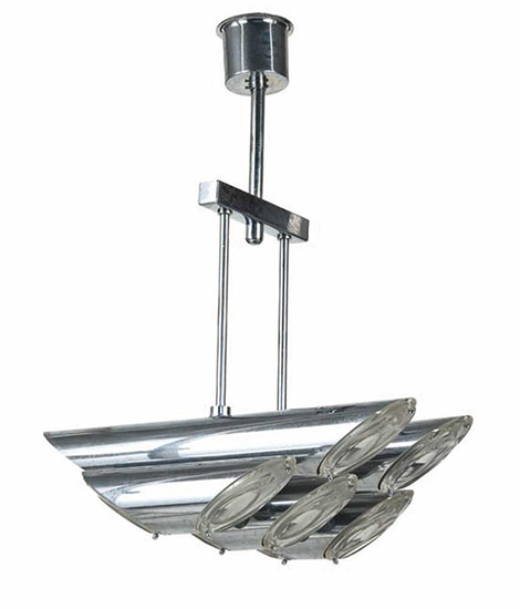 Chromium plated steel ceiling lamp