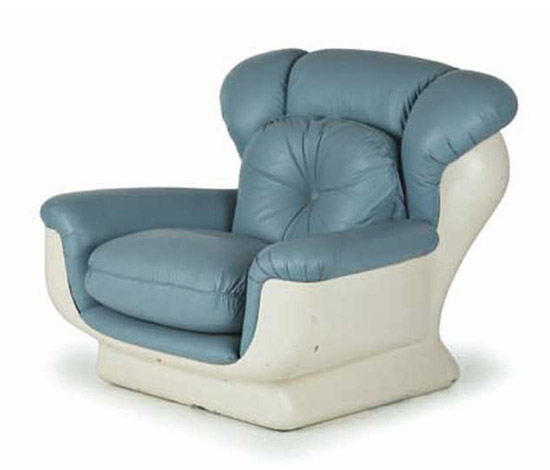 Fiberglass & synthetic leather armchair