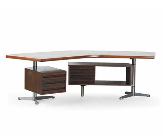 "Wood and metal ""T96"" desk"