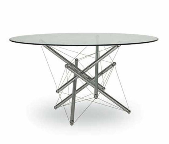 Crystal and steel table, mod n° 714