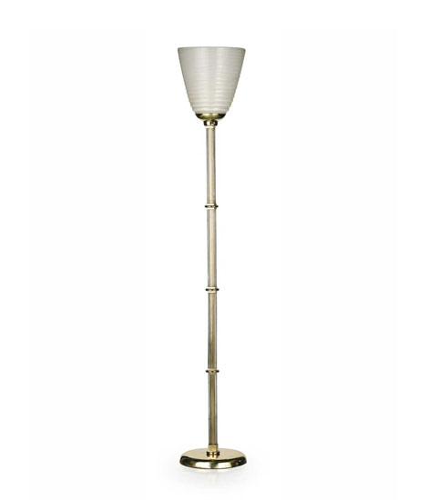 Brass and Murano glass floor lamp