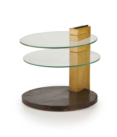 Italian wood and glass sofa table