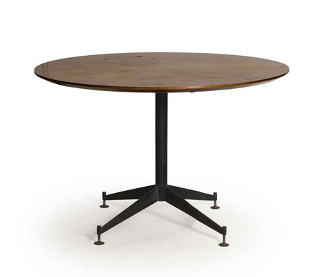 Metal and teak wood table