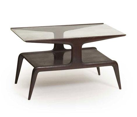 Italian glass and mahogany sofa table