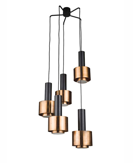 Metal and copper ceiling lamp