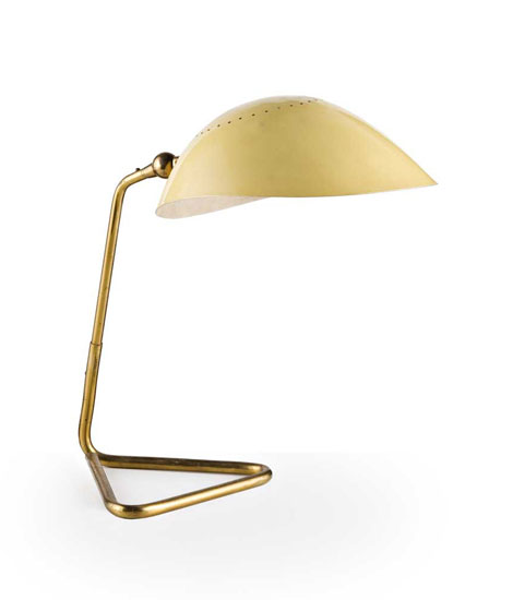 Italian brass and aluminium table lamp