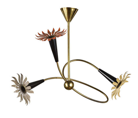 Italian laquered metal ceiling lamp