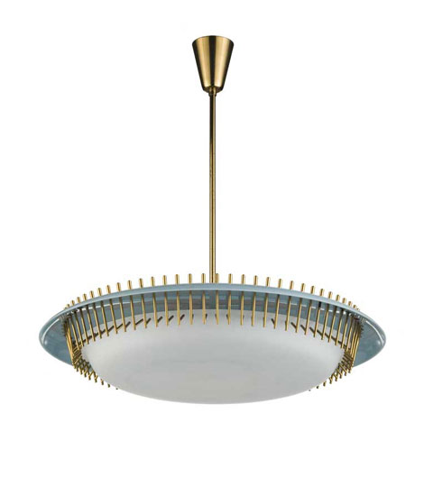 Perspex, brass and glass ceiling lamp