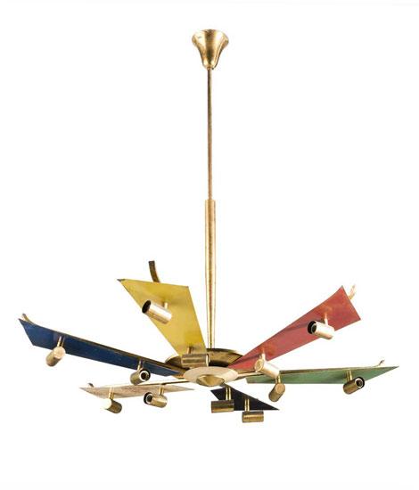Italian brass / aluminium ceiling lamp
