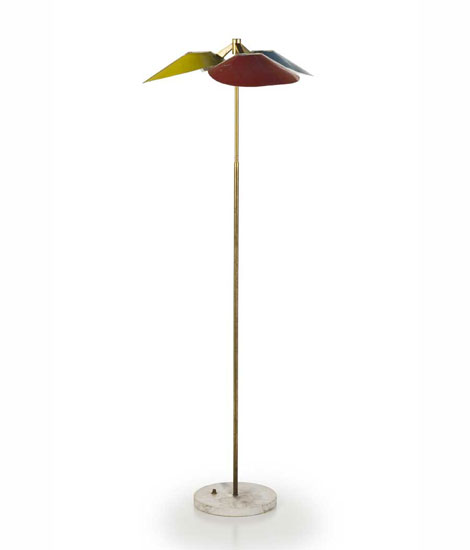 Italian brass and aluminium floor lamp