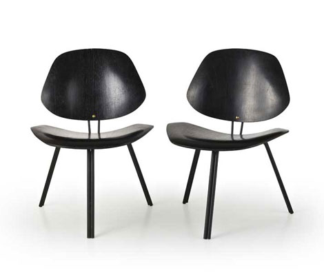 "Four wooden ""P31"" chairs"