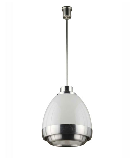 Metal / glass ceiling lamp, mod n°940 P