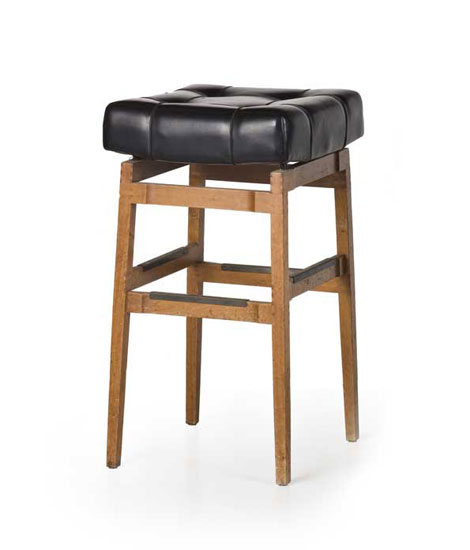 Wood and vinyl-leather barstool