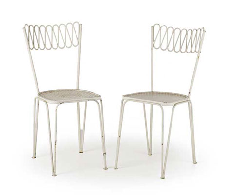 Wannenes Art Auctions-Pair of metal garden chairs