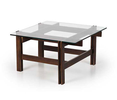 Rosewood and crystal low table