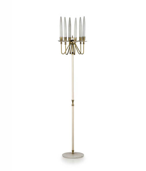 Brass and glass floor lamp