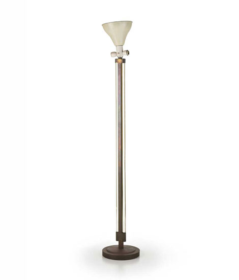 Brass and crystal floor lamp