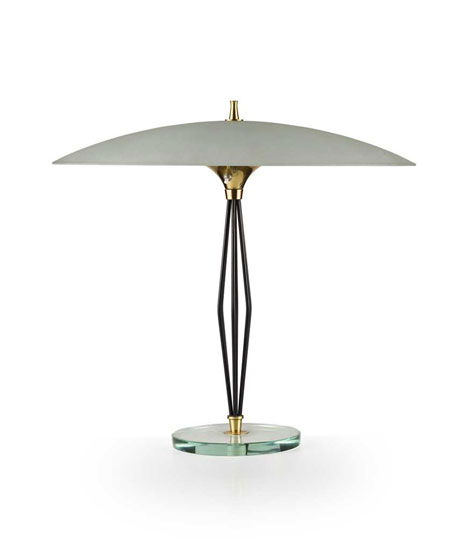 Glass and metal table lamp