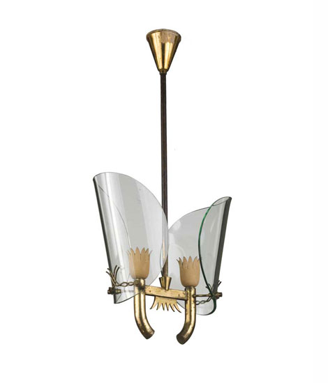 Brass and glass ceiling lamp