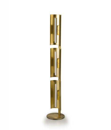 Brass and aluminium floor lamp