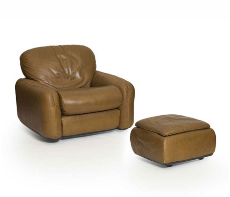 "Leather armchair / ottoman ""Piumotto"""