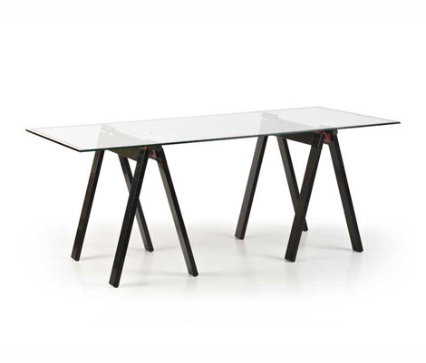 "Glass and aluminium table ""Gaetano"""