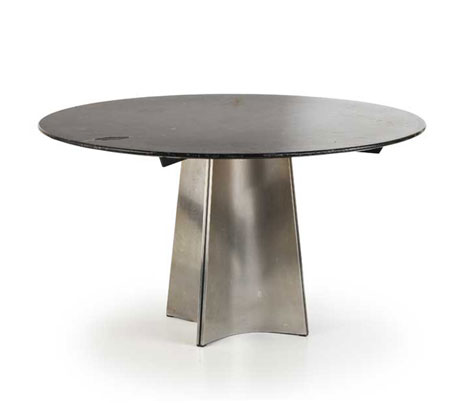 Stainless steel and marble table