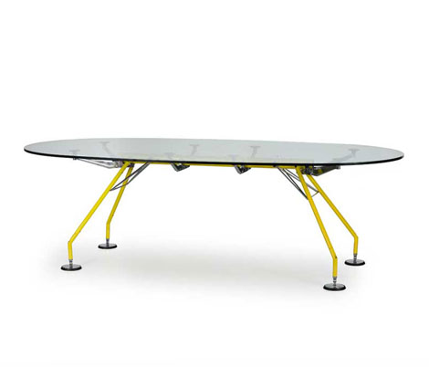 "Metal and glass table ""Nomos"""