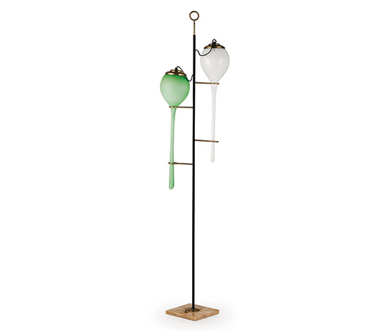 Wannenes Art Auctions-Glass and metal floor lamp