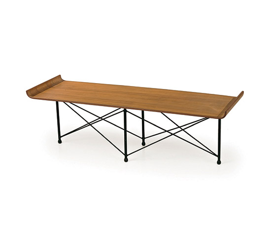 Teak wood and metal coffee table