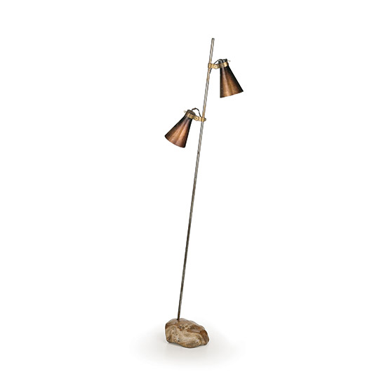 'Sasso' metal floorlamp with polished stone base