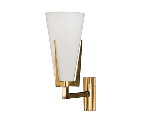 Three brass and glass sconces