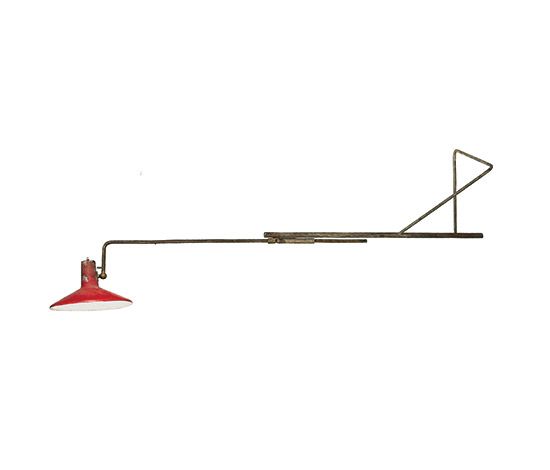 Brass and aluminum floor / wall lamp