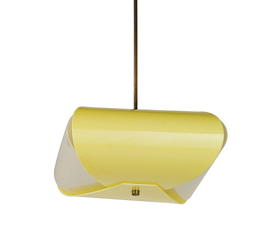Brass and perspex ceiling lamp