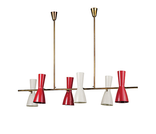 Wannenes Art Auctions-Brass and aluminum ceiling lamp