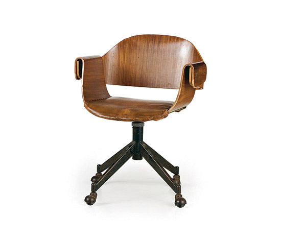 Molded plywood office armchair