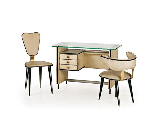 Vinyl leather and crystal desk with two chairs