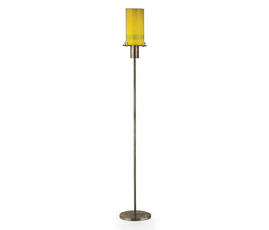 Metal, glass and perspex floor lamp