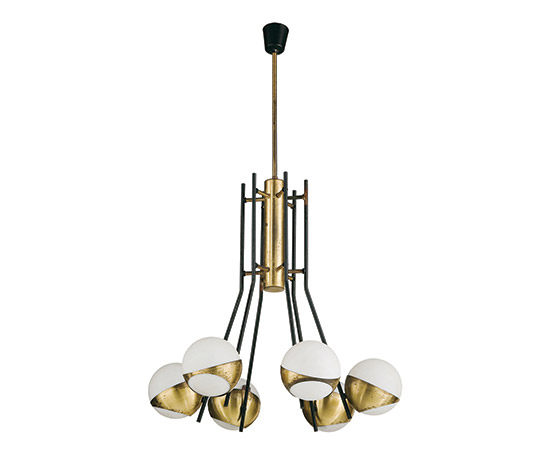 Wannenes Art Auctions-Brass and glass ceiling lamp