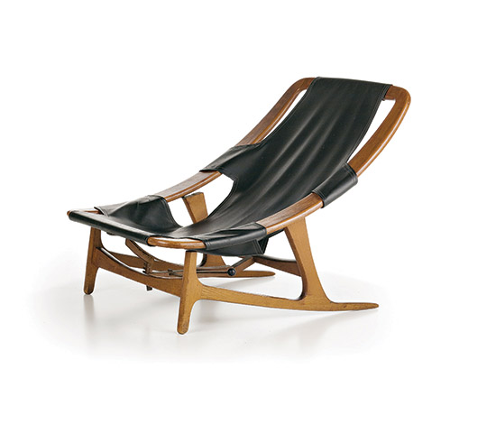 Wannenes Art Auctions-Walnut wood and vinyl leather armchair