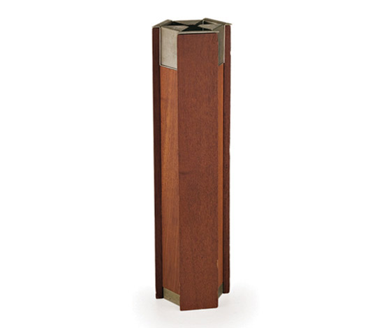 Teak wood standing ashtray