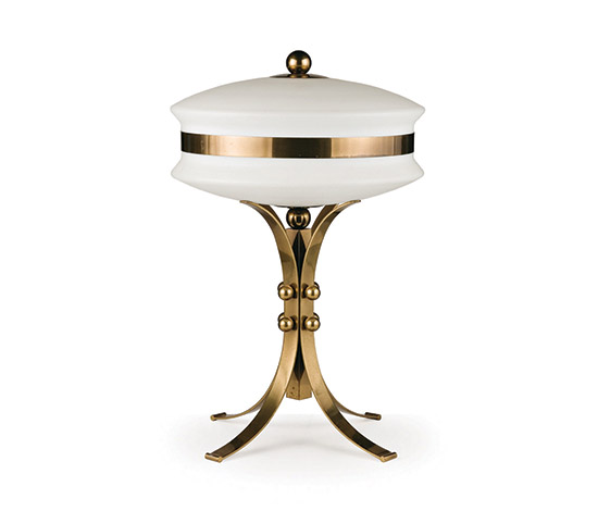 Brass and glass table lamp by Wannenes Art Auctions