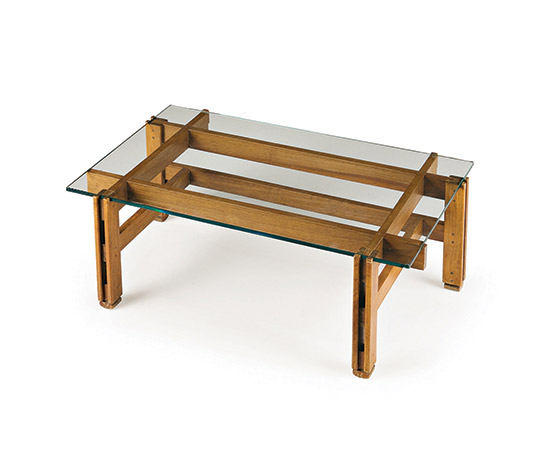 Wood and crystal low table de Wannenes Art Auctions