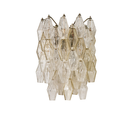 Pair of Murano glass sconces, 'Poliedri' series